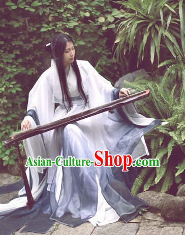 Top White Grey Chinese Fairy Princess Hanfu Costumes Theater and Reenactment Costumes and Headgear Complete Set for Women