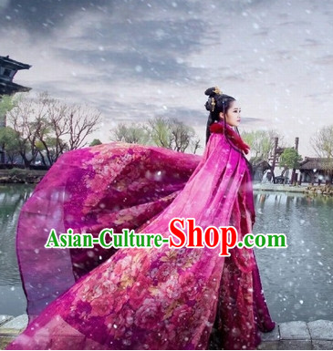 Top Red Chinese Princess Mantle Hanfu Costumes Theater and Reenactment Costumes and Headgear Complete Set for Women