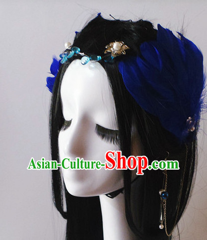 Blue Chinese Classical Feather Hair Headwear Crowns Hats Headpiece Hair Accessories Jewelry Set