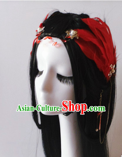 Red Chinese Classical Feather Hair Headwear Crowns Hats Headpiece Hair Accessories Jewelry Set