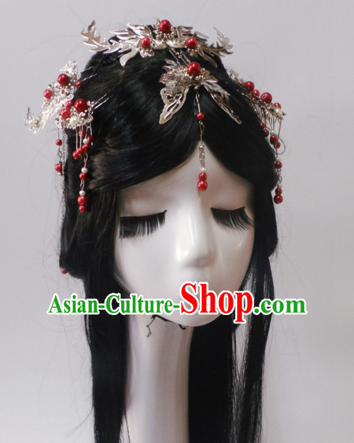 Red Chinese Classical Fairy Long Wigs and Headwear Crowns Hats Headpiece Hair Accessories Jewelry Set
