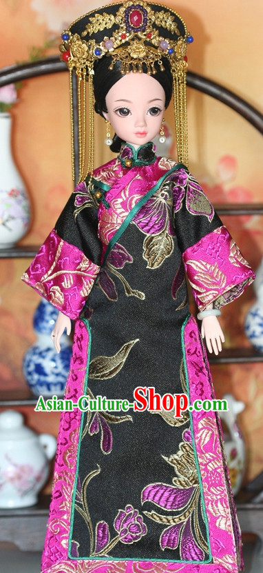 Traditional Qing Dynasty Chinese Women Clothing Imperial Dresses National Costume and Hairpins Complete Set