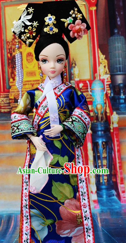Traditional Qing Dynasty Chinese Women Clothing Imperial Dresses National Costume and Hair Ornaments Complete Set