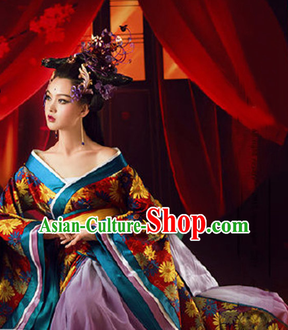 Traditional Chinese Women Empress Clothing Imperial Princess Dresses National Costume and Hair Ornaments Complete Set