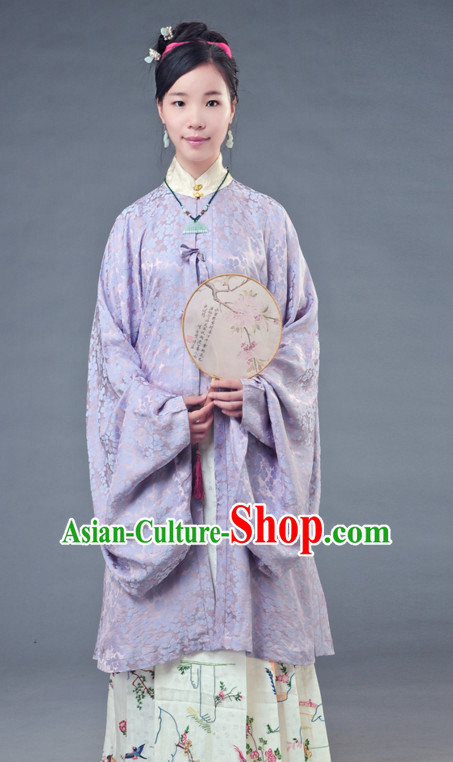 Chinese Ming Dynasty Female Han Fu Costumes and Hair Ornaments Complete Set