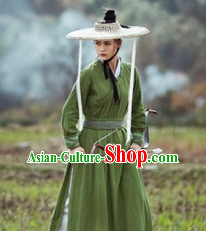 Traditional Chinese Costume Sale Swordsman Swordswoman Costumes and Bamboo Hat Complete Set