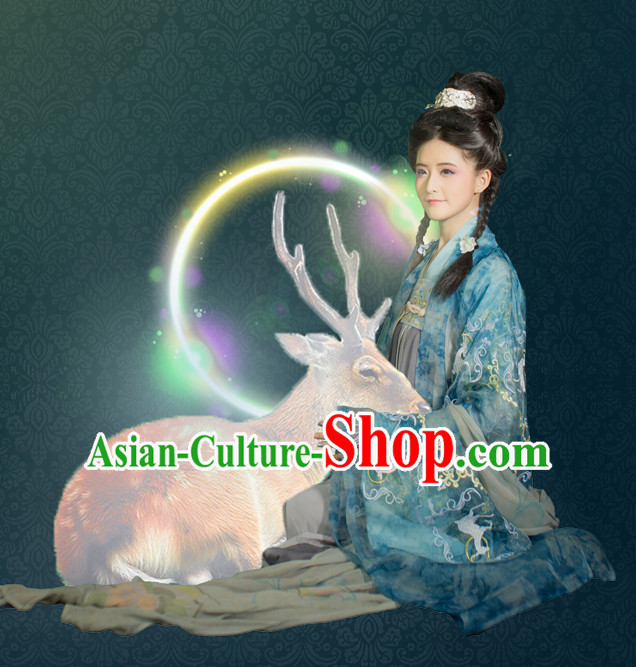 Chinese Ancient Women Hanfu Clothing Stage Drama Performance Traditional Girl Dress and Headwear Complete Set