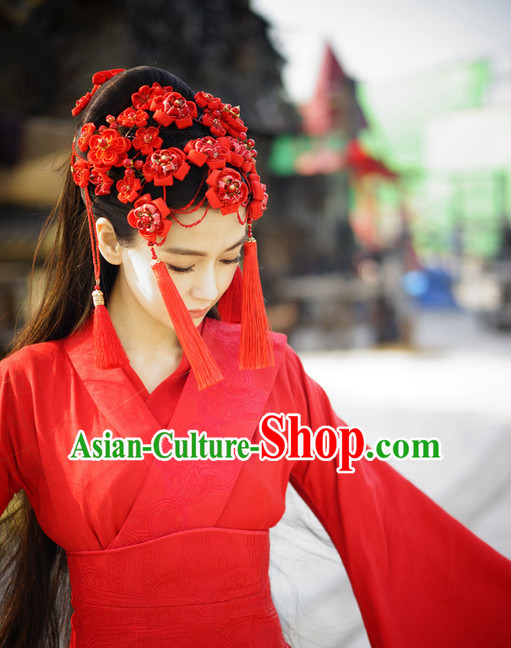 China Ancient Red Hanfu Wedding Headpieces