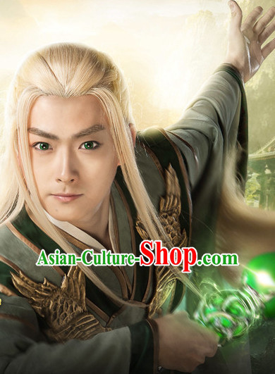 China Ancient White Long Wigs for Knights