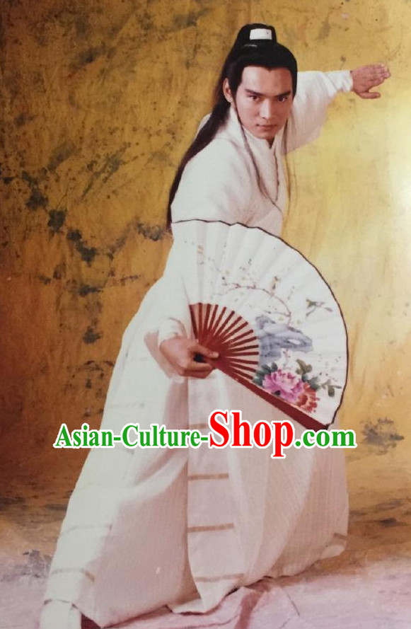 Chinese Traditional Swordsman Long Robe Garment Complete Set for Men