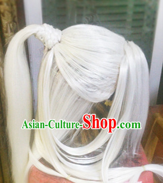 Chinese Ancient Men White Long Wigs