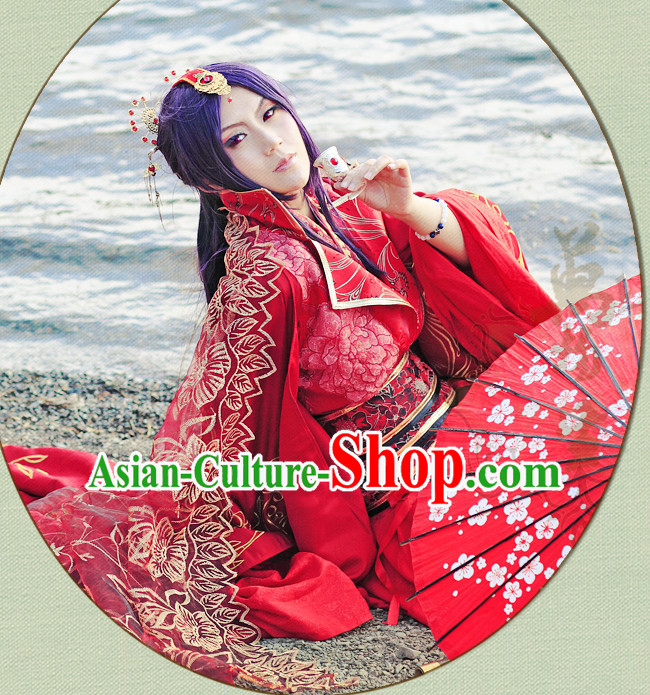 Chinese Red Hanfu Noblewoman Robe Clothing Handmade Bjd Dress Opera Costume Drama Costumes Complete Set