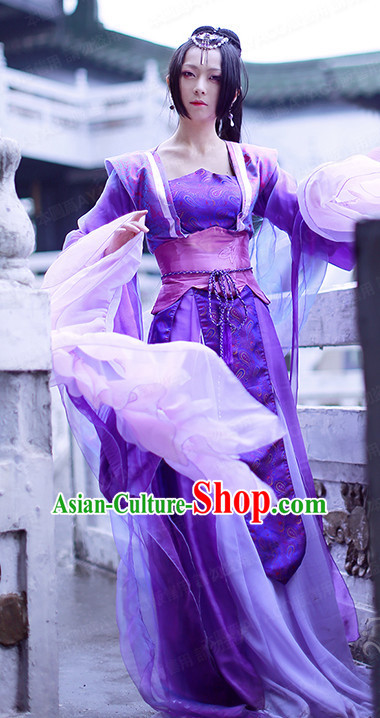 Purple Chinese Princess Hanfu Robe Clothing Handmade Bjd Dress Opera Costume Drama Costumes Complete Set