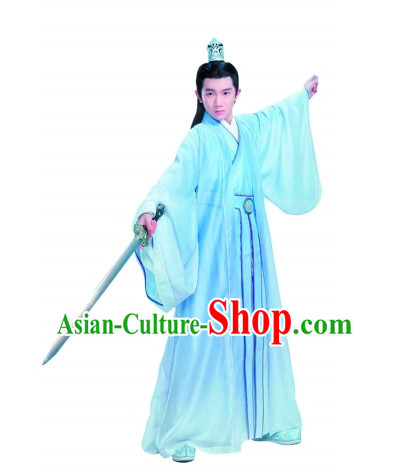 Chinese Ancient Swordsman Hero Clothes and Hair Ornaments Complete Set
