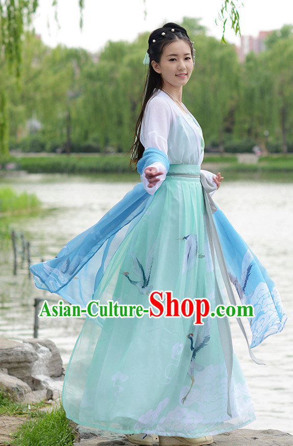 Ancient Chinese Han Dynasty Women Han Costume Dress Hanfu Suit