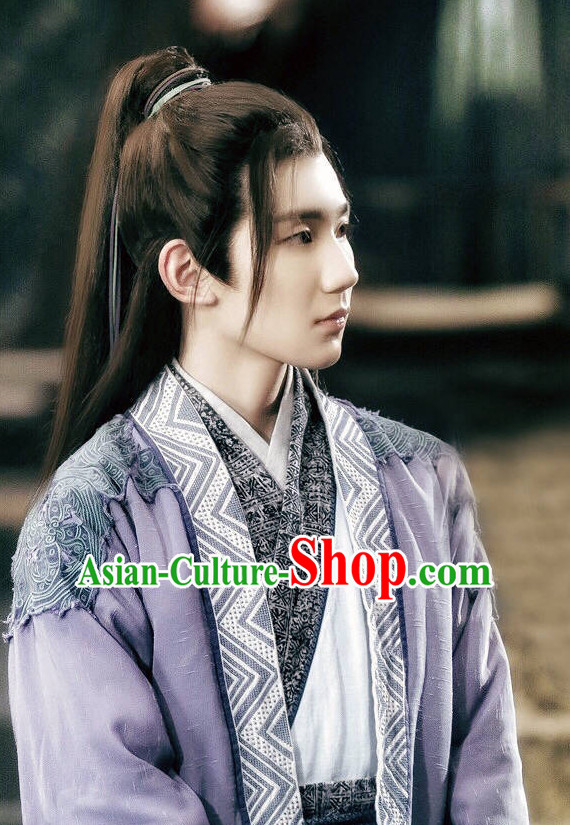 Chinese Ancient Men Long Black Wigs