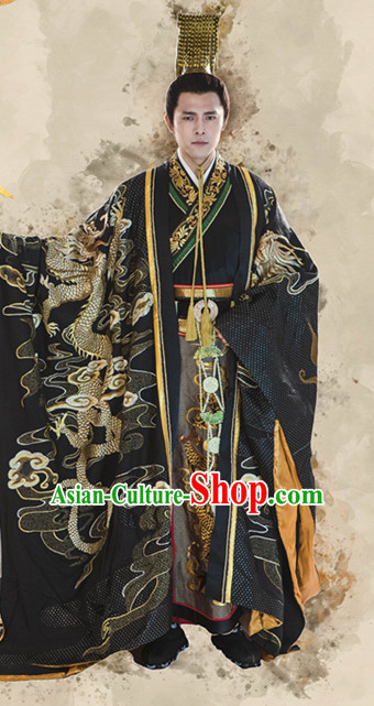 Chinese Traditional Men Emperor Dragon Embroidered Stage Hanfu Costume Dresses Costume Ancient Garment and Headpieces Complete Set