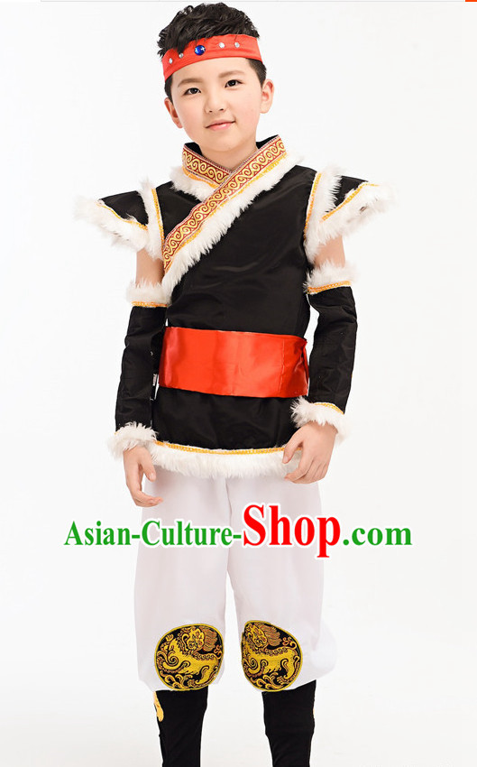 Chinese Folk Ethnic Dance Costume Complete Set for Kids