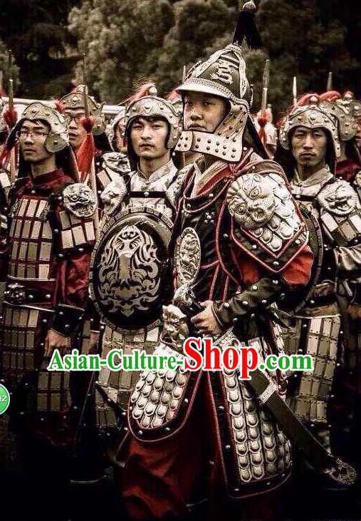 Chinese Armor Hanfu Dress Gown Costumes Ancient Costume Clothing Complete Set