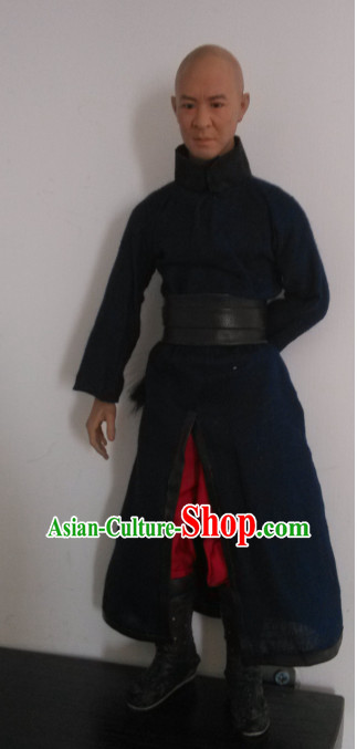 Black Chinese Qing Dynasty Black Hanfu Dress Gown Costumes Ancient Costume Clothing Complete Set