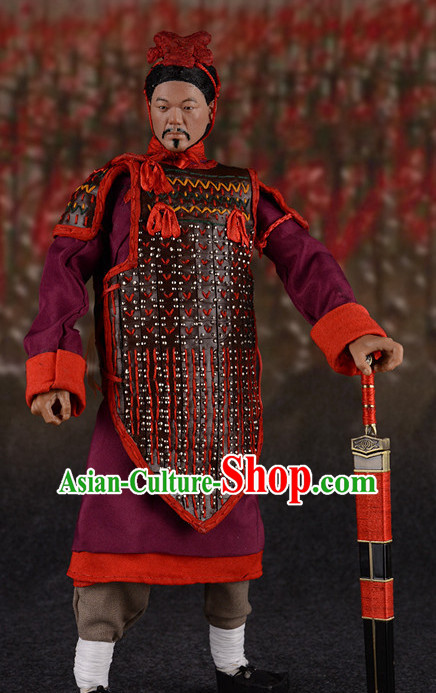 Chinese Classical Terra Cotta Warrior General Body Armor Hanfu Dress Gown Costumes Ancient Costume Clothing Complete Set