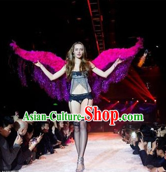 Model Feather Butterfly Dance Costumes Popular Ostrich Feathers Fancy Costume Stage Drama Costumes Angel Wings Parade Costume Complete Set