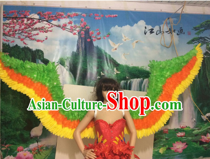 Parade Quality Peacock Feather Dance Costumes Popular Ostrich Feathers Fancy Costume Angel Wings Costume Complete Set