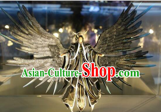 Chinese Ancient BJD Adult Size Costumes Dresses and Headpieces Complete Set for Men with Two Giant Wings