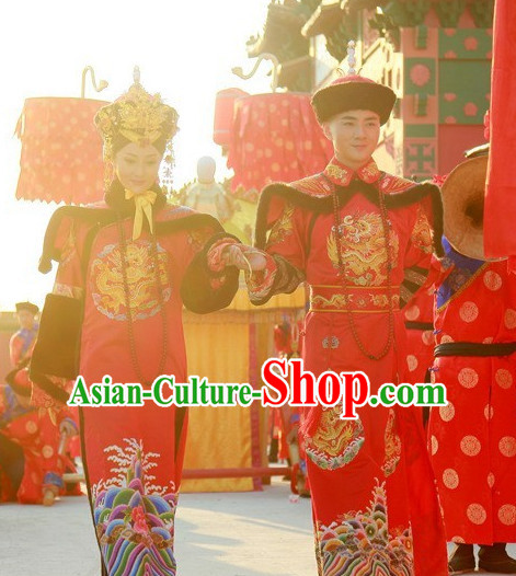 Chinese Qing Dynasty Emperor and Empress Imperial Dresses and Hats Two Complete Sets for Men and Women