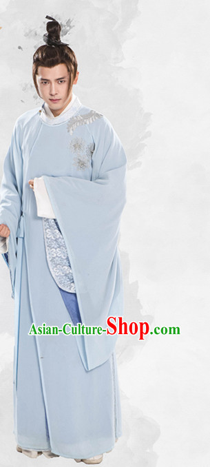 Chinese Ancient Scholar Hanfu Clothing Garment Complete Set for Men