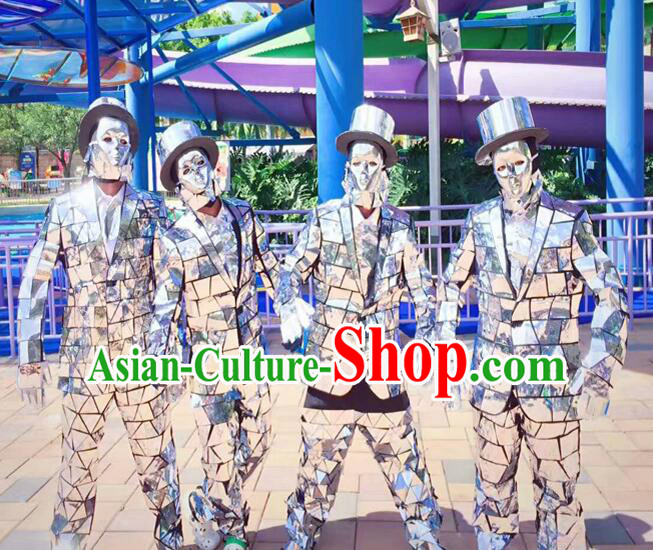 Professional Fancy Costume Silver Mirror People Dance Costumes Dancing Costume Complete Set for Kids Adults Men Boys