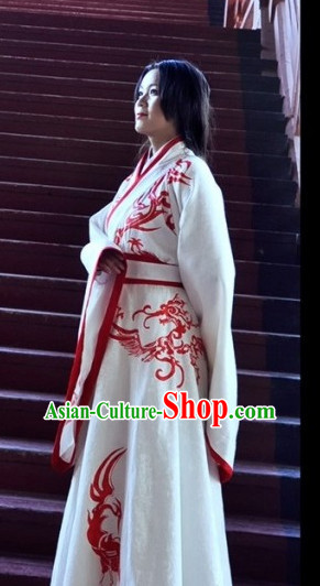 Ancient Chinese Princess Dresses Traditional Royal Stage Hanfu Classical Dress National Costumes Clothing and Hair Jewelry Complete Set