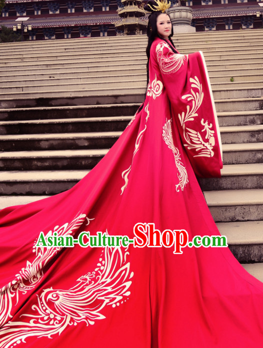 Ancient Chinese Princess Wedding Dresses Hanfu Classical Dress National Ceremonial Costumes Clothing and Hair Jewelry Complete Set