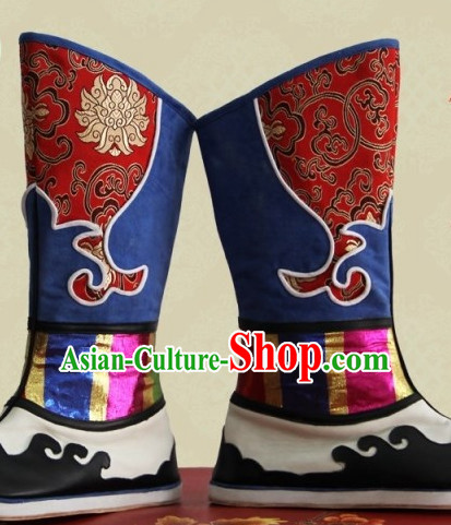 Chinese Mongolian Minority Mongol Boots Mongolia Minority Boot Ethnic Mongolian Feather Shoes