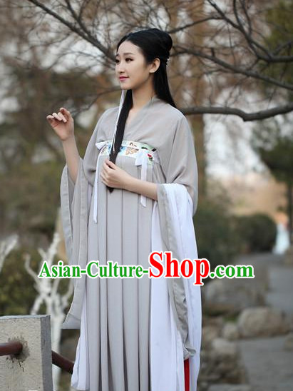 Ancient Chinese Women Dresses Grey Hanfu Girls China Classical Clothing Histroical Dress Traditional National Costume Complete Set