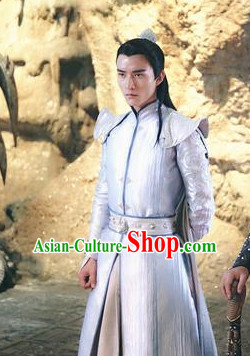 Ancient Chinese Aristocrat Clothing and Coronet Headwear Complete Set for Men