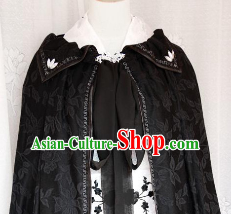 Chinese Ancient Imperial Black Mantle Cape for Men or Women