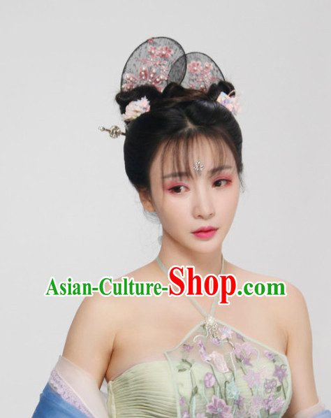 Ancient Chinese Lady Female Black Wigs Headpieces
