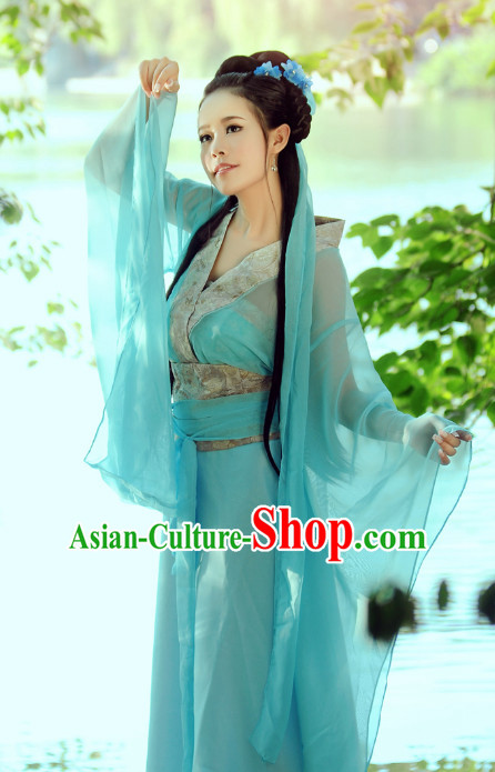 Chinese Classical Beauty Hanfu Clothes Costumes Clothing and Headpieces Complete Set for Women