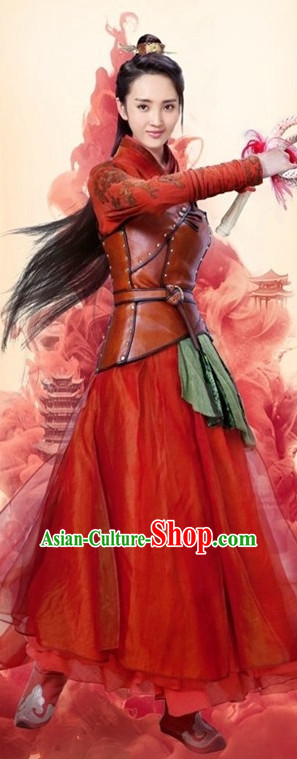 Ancient Chinese Red Swordswoman Clothing and Hair Accessories Complete Set for Women