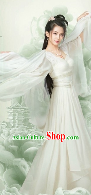 White Ancient Chinese Female Fairy Clothes Costumes Clothing and Hair Accessories Complete Set for Women