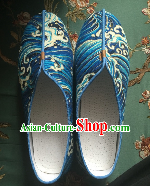 Chinese Classical Light Blue Handmade Shoes