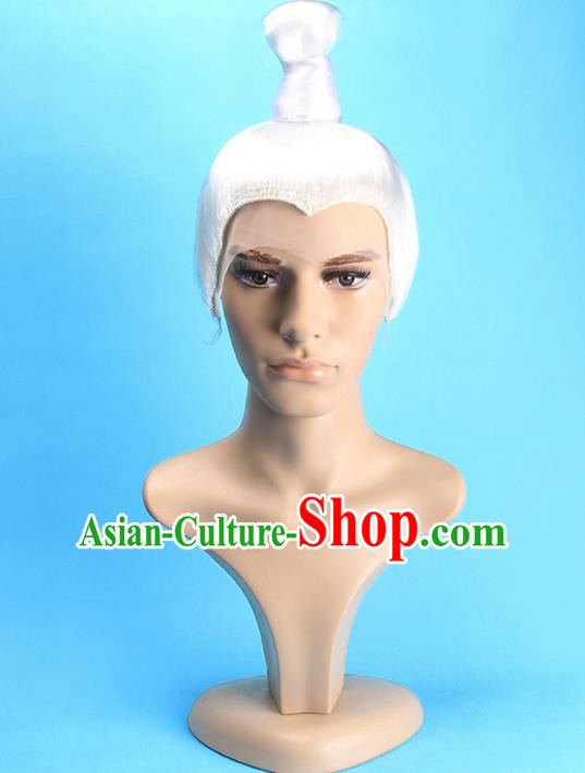 Chinese Ancient Swordsman Long Wig Set, Old Men Wig Set, Traditional Chinese Wig Hoods for Men