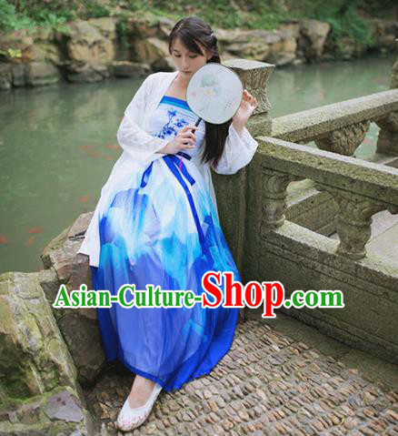 Traditional Classic Chinese Elegant Women Costume Hanfu Bust Skirt, Restoring Ancient Han Dynasty Princess Change Color Ruqun Dress for Women