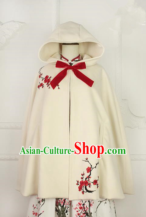 Traditional Classic Chinese Elegant Women Costume Hanfu Woolen Cloak, Restoring Ancient Embroider Plum Blossom Cape for Women