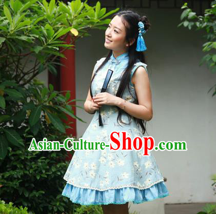 Traditional Classic Chinese Elegant Women Costume One-Piece Signature Cotton Dress, Restoring Ancient Princess Stand Collar Dress for Women