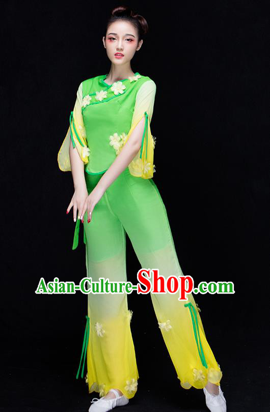 Traditional Chinese Classical Yangko Jasmine Flower Dance Dress, Yangge Fan Dancing Costume Umbrella Dance Suits, Folk Dance Yangko Costume for Women