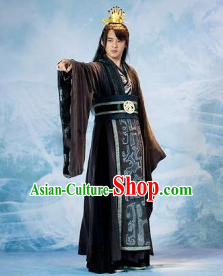 Traditional Chinese Ancient Men Childe Costumes, Ancient Chinese Han Dynasty Cosplay General Swordsmen Roayl Prince Embroidered Costume Complete Set for Men