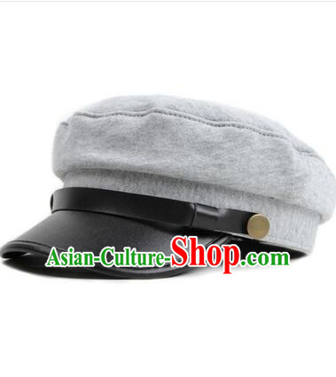 Chinese Traditional Style Wu Si Period Student Hat Play Stage Flat Hat Men Sun Yat Sen's Uniform Hat Grey