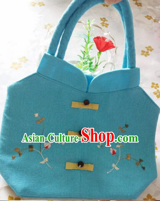 Purse Women Handbag Chinese Traditional Style Min Guo Lady Stage Play Property Blue